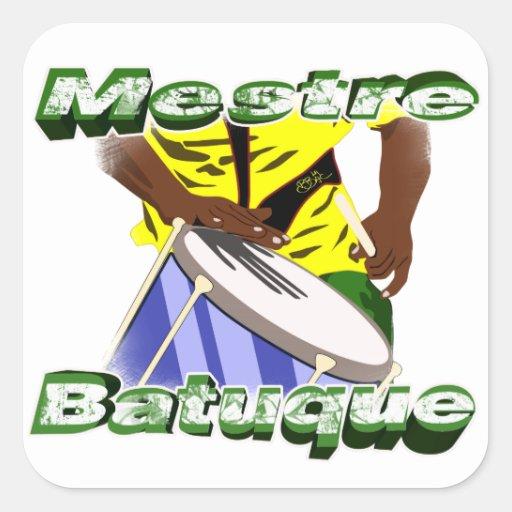 BBaC Shirt Mestre Batuc Samba Batucada Brasil Square Stickers