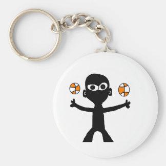 bball basic round button key ring