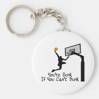 Bball Dunk Basic Round Button Key Ring