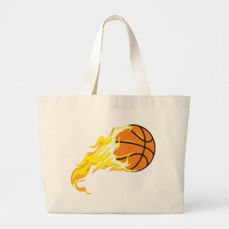 bball flame large tote bag
