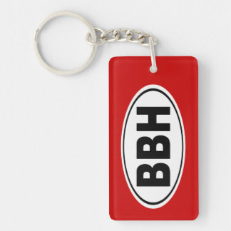 BBH Boothbay Harbor Maine Double-Sided Rectangular Acrylic Key Ring