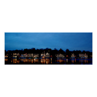 BBoat House Row nightscape panoramic photograph Poster