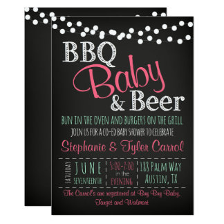 BBQ Baby Beer BaBy-Q Book Card & Shower Invitation