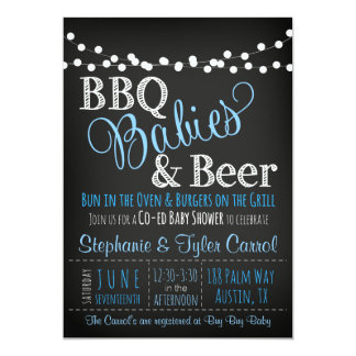 BBQ baby & beer chalkboard Baby Shower Invitations