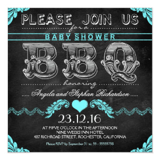 BBQ baby shower black chalkboard boy invites