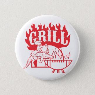 BBQ Chef Carry Gator Grill Retro 6 Cm Round Badge
