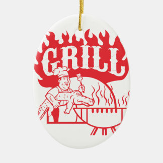 BBQ Chef Carry Gator Grill Retro Ceramic Ornament