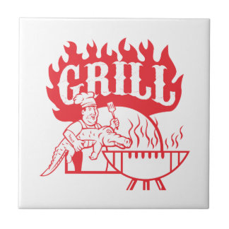 BBQ Chef Carry Gator Grill Retro Ceramic Tile
