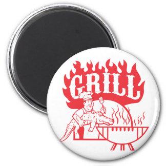 BBQ Chef Carry Gator Grill Retro Magnet