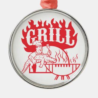 BBQ Chef Carry Gator Grill Retro Metal Ornament