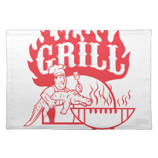 BBQ Chef Carry Gator Grill Retro Placemat