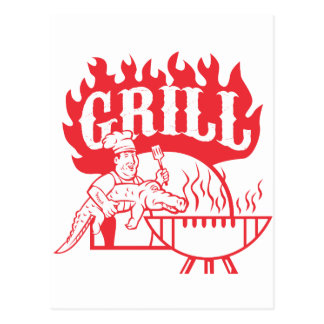 BBQ Chef Carry Gator Grill Retro Postcard