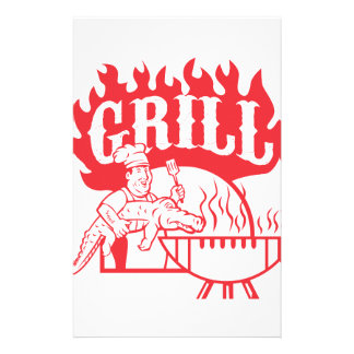 BBQ Chef Carry Gator Grill Retro Stationery