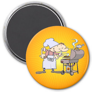 BBQ chef grilling burgers 7.5 Cm Round Magnet