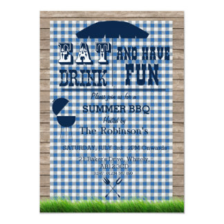 "BBQ Custom Event Invitation- Blue 5"" X 7"" Invitation Card"