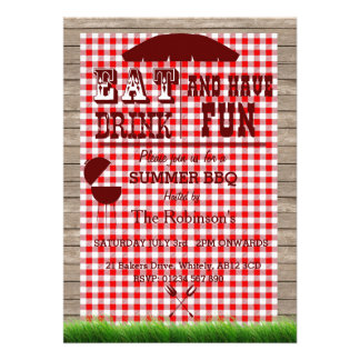 BBQ Custom Event Invitation- Red