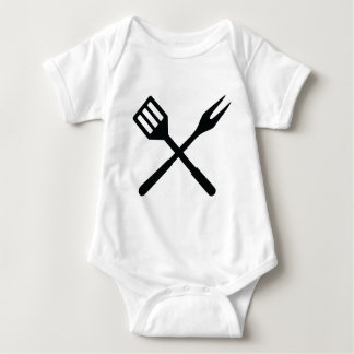 BBQ cutlery icon Baby Bodysuit