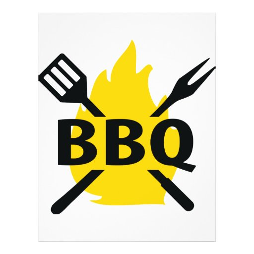 BBQ cutlery with flames icon Full Color Flyer