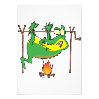 BBQ dinner funny alligator gator cartoon Invite