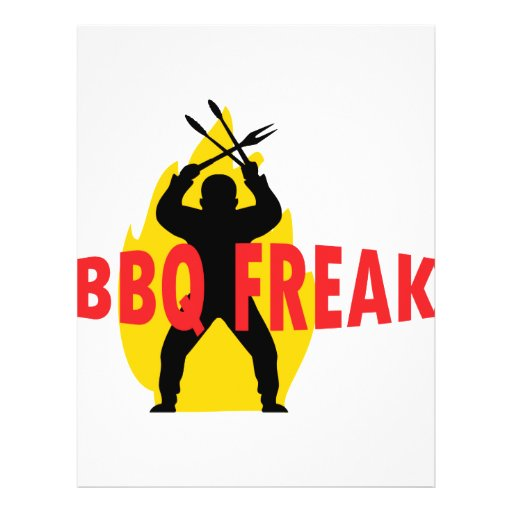 BBQ-Freak with cutlery and flame Full Color Flyer