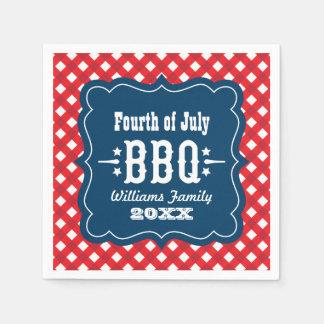 BBQ Gingham Plaid Napkins | 4th of July Paper Serviettes