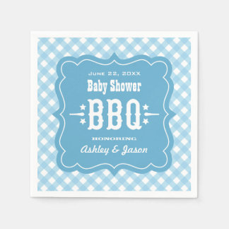 BBQ Gingham Plaid Napkins | Blue and White Disposable Serviette