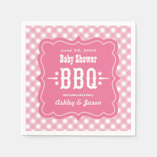 BBQ Gingham Plaid Napkins | Pink and White Disposable Serviette