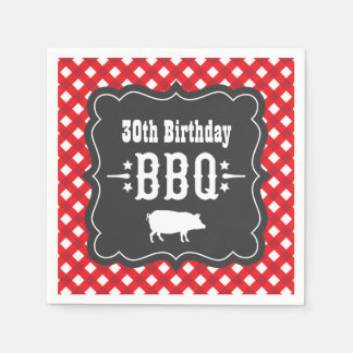 BBQ Gingham Plaid Napkins | Red and Charcoal Black Disposable Serviette