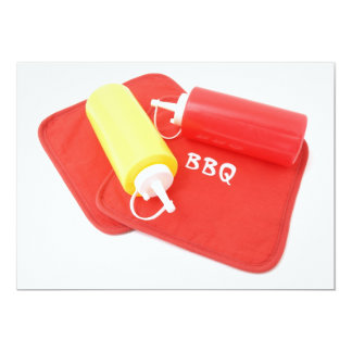 BBQ Ketchup and Mustard Containers 13 Cm X 18 Cm Invitation Card