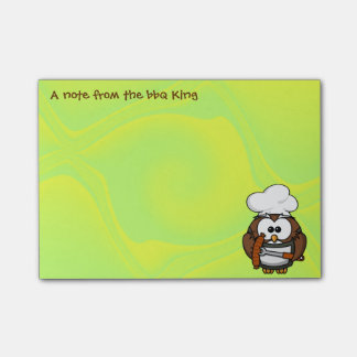 bbq king owl post-it notes