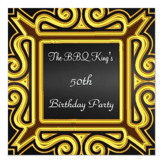"BBQ King Popular Elegant Black Gold  Invitation 5.25"" Square Invitation Card"