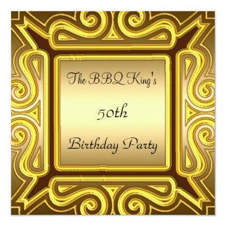"BBQ King Popular Elegant Gold  Invitation 5.25"" Square Invitation Card"