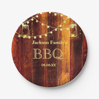 BBQ party brown rustic country style paper plate 7 Inch Paper Plate
