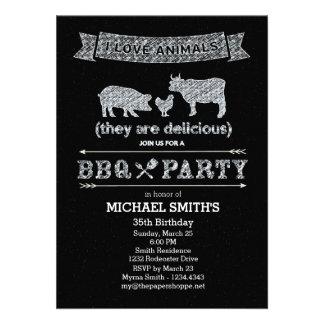 BBQ Party Chalkboard Style Custom Invite