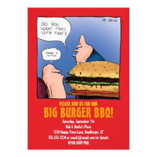 BBQ Party Invitation with Funny Burger Cartoon