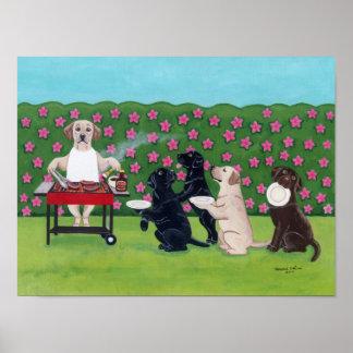 BBQ Party Labradors in the Azalea Garden Artwork Poster