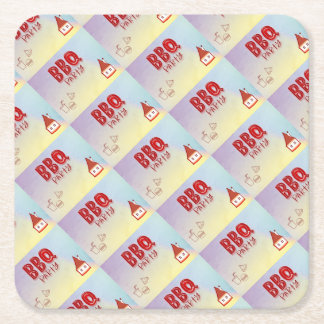 BBQ Party Square Paper Coaster