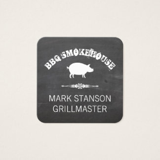 BBQ / Pig / Chalk Background Square Business Card