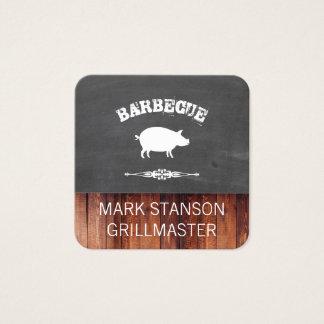 BBQ / Pig / Chalk / Wood Square Business Card