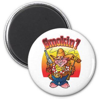 BBQ Pig Smokin'! 6 Cm Round Magnet