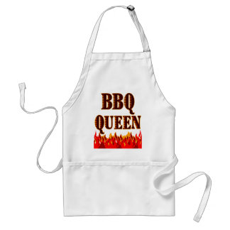 BBQ Queen Red Flames Funny Saying Adult Apron