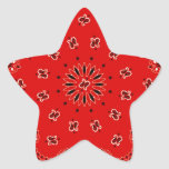 BBQ Red Paisley Western Bandanna Scarf Print Star Stickers
