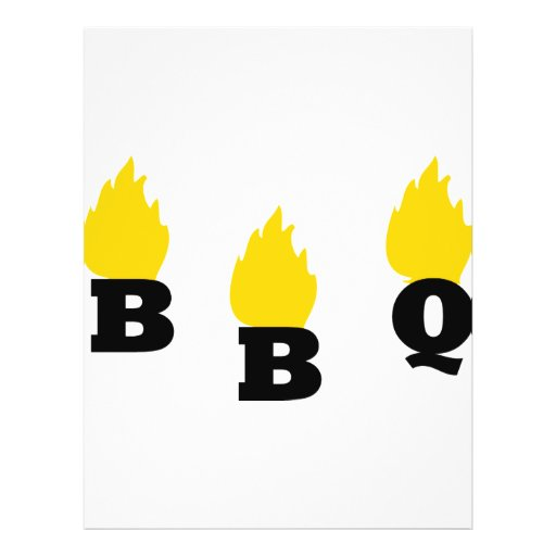 BBQ with flames icon Full Color Flyer