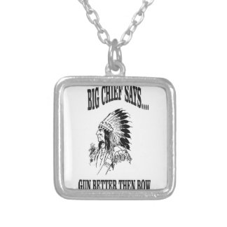 BC gun better then bow Silver Plated Necklace