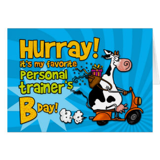 bd scooter cow - personal trainer greeting card