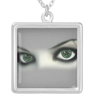 BDSM EYES SILVER PLATED NECKLACE