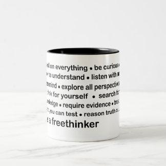 be a freethinker Two-Tone coffee mug