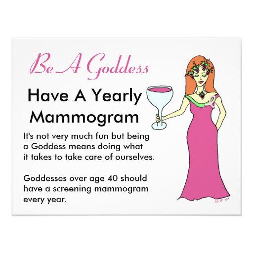 Be A Goddess, Have A Mammogram Wine Goddess BCA Custom Announcements