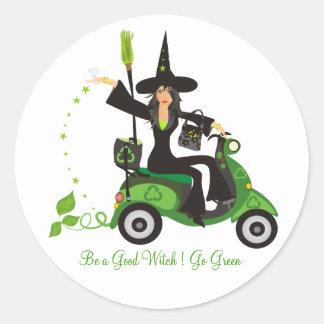 "Be a Good Witch ""Go Green"" Round Sticker"