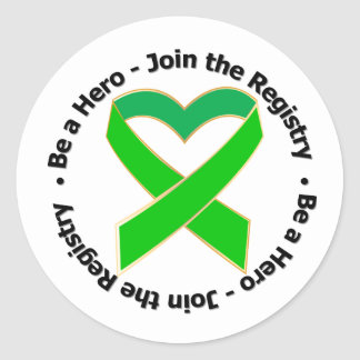 Be a Hero Join The Registry - Bone Marrow Donor Round Stickers
